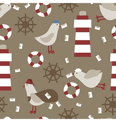 Seamless nautical retro pattern texture elements vector image vector image
