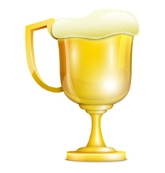 Beer With Froth In Golden Mug vector image