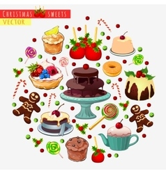 Big set of different sweets for Christmas vector image vector image
