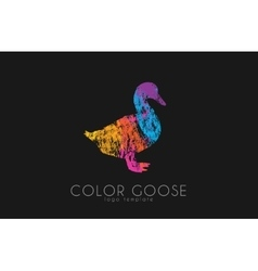 Goose logo color goose bird logo design vector