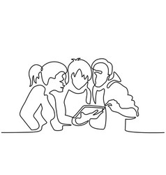 Happy friends browsing electronic tablet vector