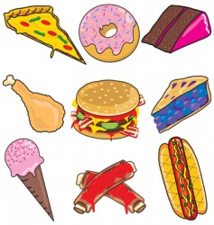 junk food elements and icons vector image vector image