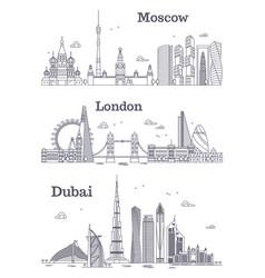Moscow london dubai linear landmark vector