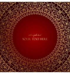 oriental red frame with gold ornament vector image