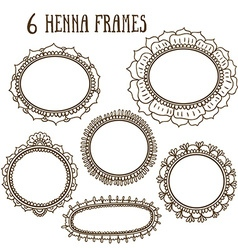 set with abstract floral frames in indian style vector image