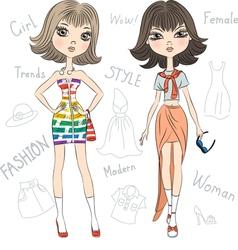 Beautiful fashion girls top model vector