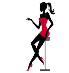 Girl sits in bar vector image vector image