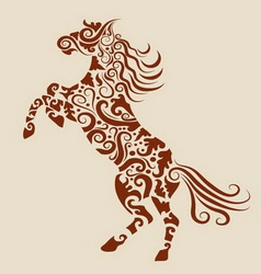 Horse floral ornament vector image