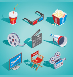 isometric cinema elements set vector image vector image