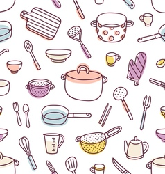 Kitchenware and cooking utensils seamless pattern vector image
