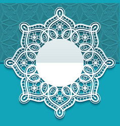 Round greeting card with lace border pattern vector