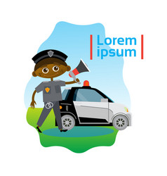 small boy policeman over police car african vector image