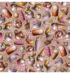 Cartoon hand-drawn ice cream doodles seamless vector
