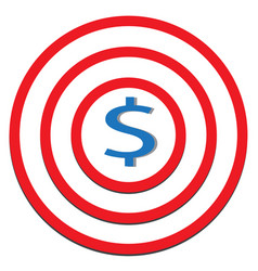 dollar target icon on white background dollar vector image vector image