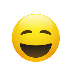emoji yellow smiley face with closed eyes vector image