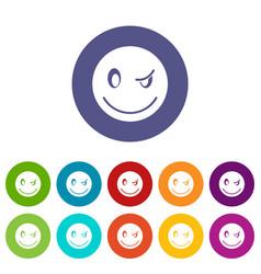 eyewink emoticon set icons vector image vector image