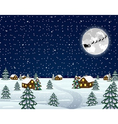 Landscape in the Christmas night vector image