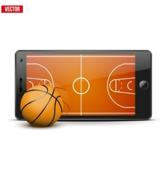 Mobile phone with basketball ball and field on the vector image vector image