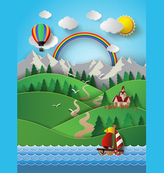 Sailing boat and cloud with rainbow vector