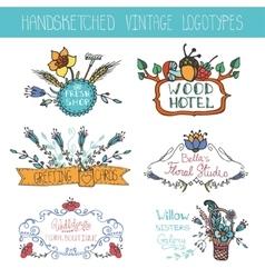 Vintage floral logotypes setDoodle hand sketchy vector image vector image