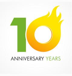 10 anniversary flame logo vector