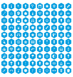 100 light icons set blue vector
