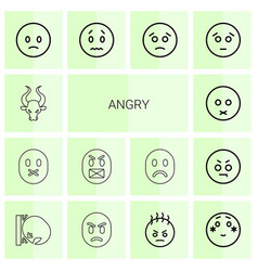 14 angry icons vector