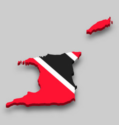 3d isometric map trinidad and tobago vector image