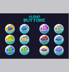 a collection bright multi-colored audio buttons vector image