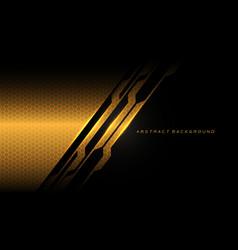 Abstract gold black cyber hexagon mesh vector