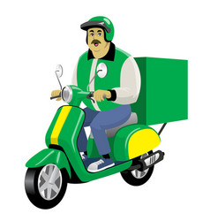 adult delivery male worker riding vintage vector image