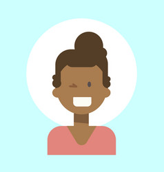 African american female winking emotion profile vector