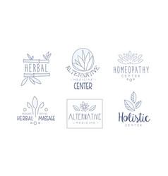 alternative medicine center hand drawn labels set vector image