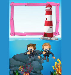 Background template with divers underwater vector