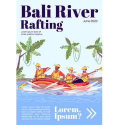 Bali river rafting magazine cover template people vector