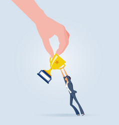 big hand snatch trophy from businesswoman vector image