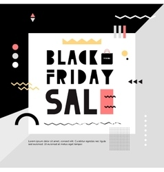 Black Friday Sale modern banner in the Memphis vector image