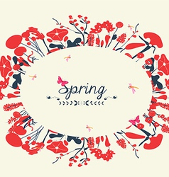 Blossom into spring postcard vintage vector