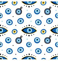 blue eye-shaped nazar talismans amulets pattern vector image