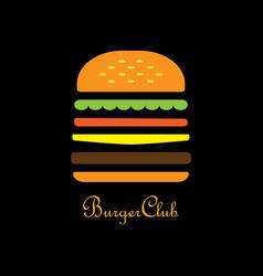 burger club logo burger in flat design on black vector image