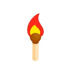 Burning match isometric 3d icon vector image