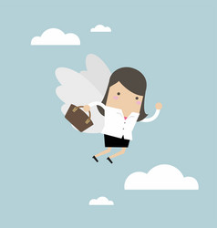 businesswoman flying with her wing vector image