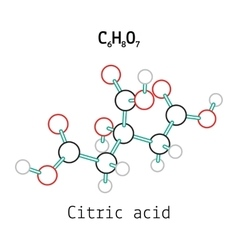 C6H8O7 Citric acid molecule vector