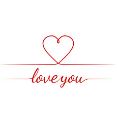 calligraphy text i love you heart graceful vector image