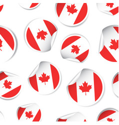 canada flag sticker seamless pattern background vector image