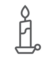Candle line icon flame and fire candlelight vector
