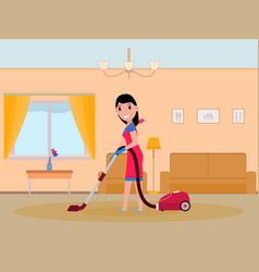 Cartoon girl maid cleaning apartment vector