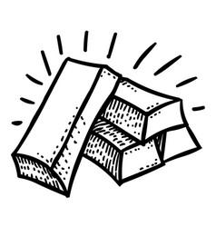 Cartoon image of gold bars icon gold symbol vector