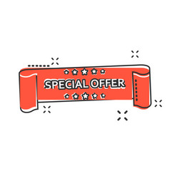 cartoon special offer ribbon icon in comic style vector image