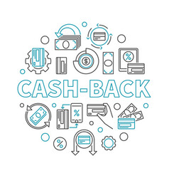 cash-back linear round vector image